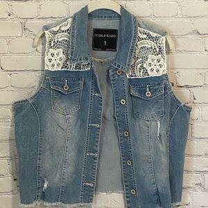 Maurices | Plus Size Jean Vest w/Lace Accents